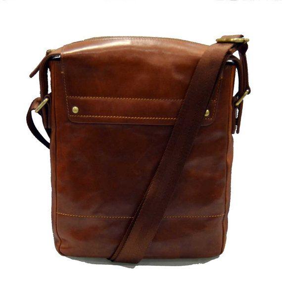 Leather shoulder bag satchel mens leather bag by ItalianHandbags