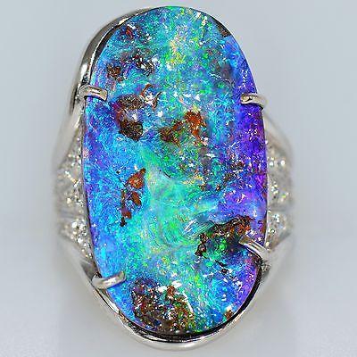 Grande 17 quilates vivos ópalo australiano Diamantes Anillo 18K Oro Blanco Natural | Joyería y relojes, Joyería fina, Anillos finos | eBay!