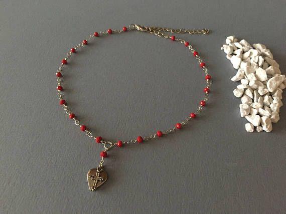 Collana girocollo a rosario fatta a mano con perline di