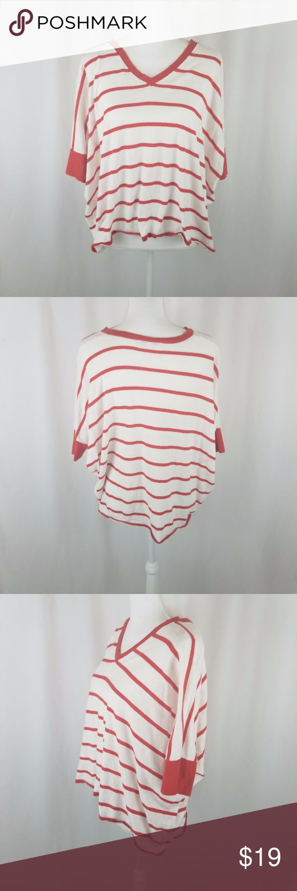 """CAbi Drop Shoulder Top Deep Orange Top M CAbi Drop Shoulder Top Deep Orange Top M  V Neck and Sleeves Lined in Deep Orange  Chest Armpit to Armpit 30.5"""" (laid flat not measured as would hang)  Length 22""""  All measurements taken while lying flat  (036) CAbi Tops"""