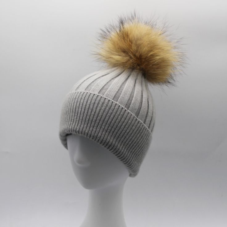 Women Winter Luxury Brand Hat Real 15cm Fur pom poms Beanies Cap Wool Cashmere Hats For Men