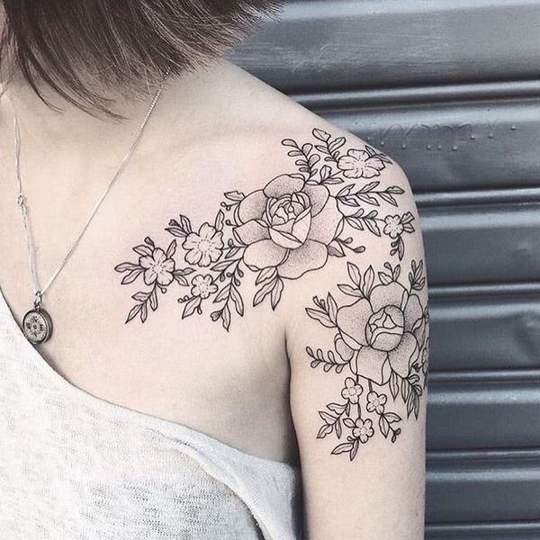 flower tattoos dotwork short sleeve design ideas #FlowerTattooDesigns