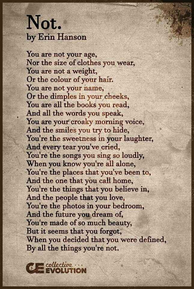 you're not defined by all the things you're NOT..