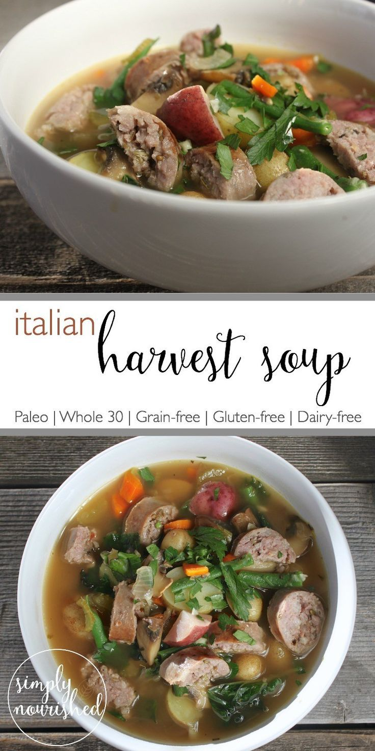A warming soup featuring hearty fall vegetables and sweet Italian sausage for a warm and satisfying meal. | fall soup recipes | paleo soup recipes | whole30 soup recipes | grain-free soup recipes | gluten-free soup recipes | dairy-free soup recipes || The Real Food Dietitians #whole30souprecipes
