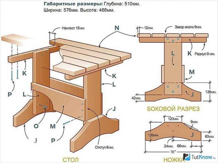 Стол из досок чертежи