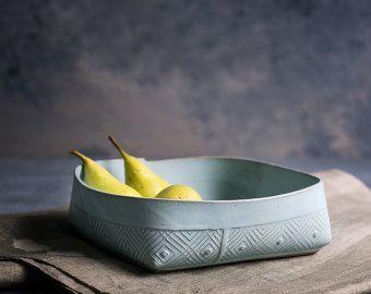 Ceramic Salad Bowl Ceramic Fruit Bowl Light Blue by FreeFolding