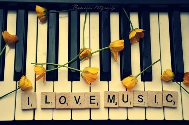 I do.I Love Music, Yellow Rose, The Piano, Music Love, Scrabble Tile, Piano Keys, True Stories, Yellow Flower, Scrabble Letters