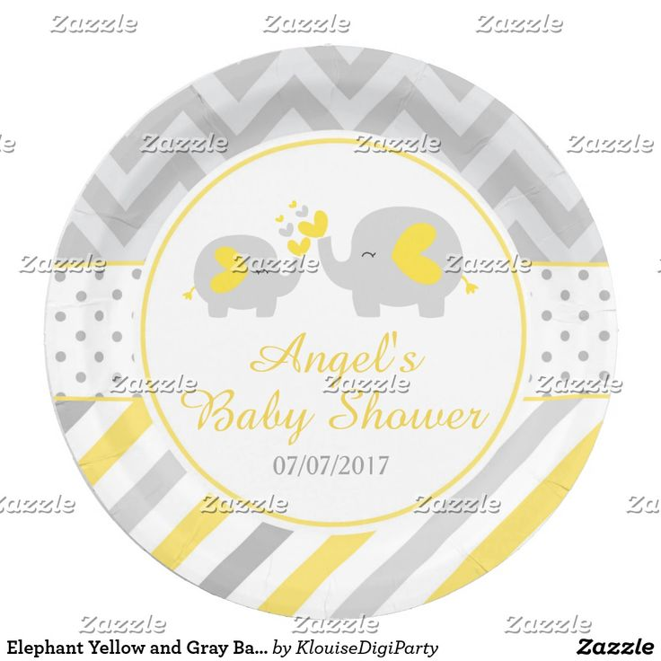 Elephant Yellow and Gray Baby Shower Paper Plate