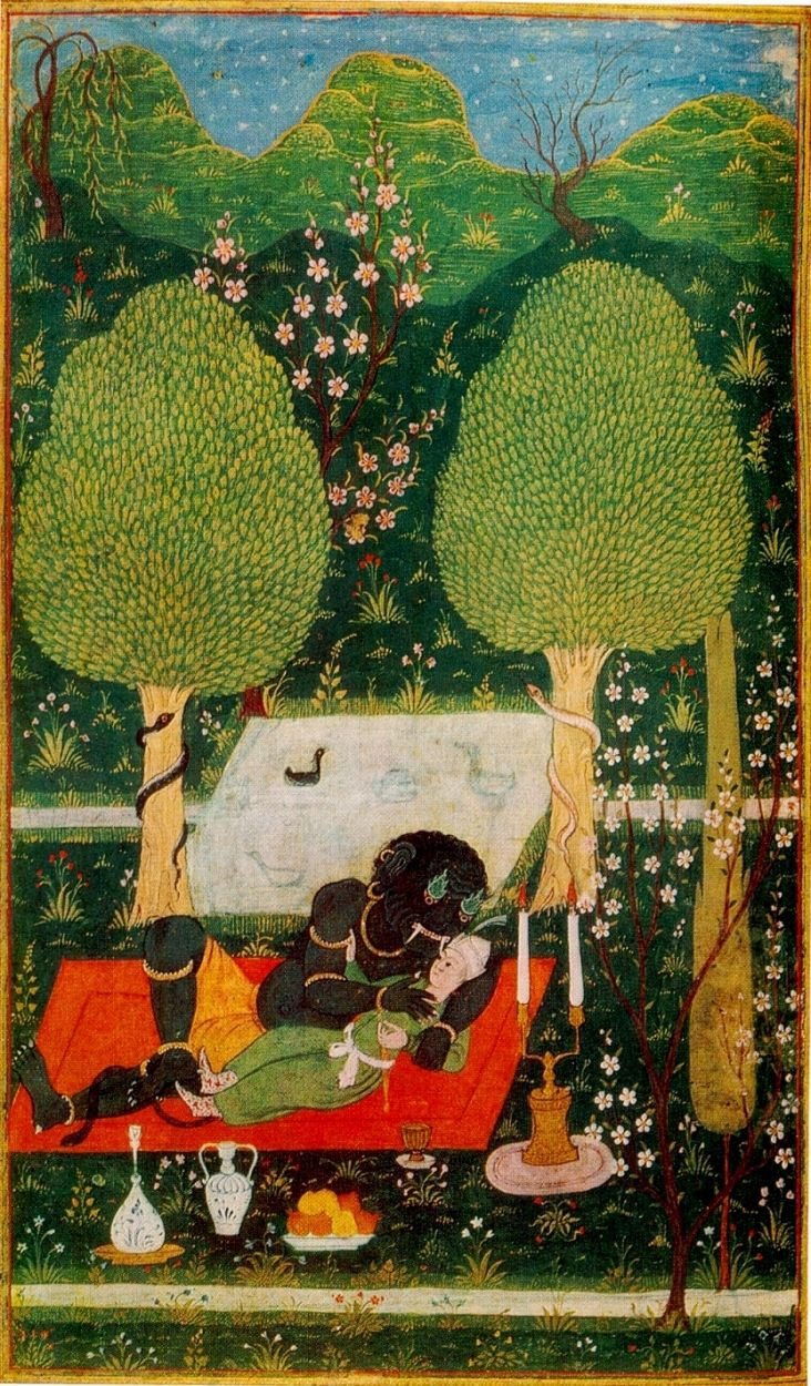 "Makhan in an enchanted garden, embraced by an ifrit dated 1648,  from Bukhara, with possible influences from Mughal painting. Based on Nizami's Khamsa  or ""five poems"" of Nizami Ganjavi, a 12th-C. Persian poet, which was created for the Mughal Emperor Akbar in the early 1590s by a number of artists and a single scribe working at the Mughal court, very probably in Akbar's new capital of Lahore in North India, now in Pakistan."