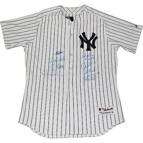 Mariano RiveraJorge Posada Hideki Matsui Alex Rodriguez Johnny Damon Joe Girardi Mark Teixeira Derek Jeter Andy Pettitte Autographed Blank New York Yankees Authentic Pinstripe Baseball Jersey with 09 WS MVP Inscription - Autographed on Front - Authentic S * Check out the image by visiting the link.