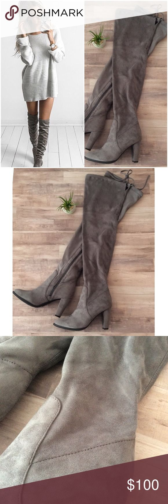 """Fashion Blogger Favorite!!  Over the Knee Boots Super sexy over the knee gray Suede heeled boots. Stretchy so the fit is spot on whether you wear them thigh high or slouch them down. Behind the thigh tie. Works for even wide calf ladies.  vegan cruelty free """"Suede"""" hidden inner zipper. Approx 3.25"""" heel, 23"""" shaft, 13"""" calf circumference with STRETCH for a wider calf. As seen on Kylie Jenner and Kristy Fleming! Don't miss out on this trend! TTS fit! By G.C. Shoes, the style is nightout GC…"""