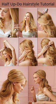 Half Up-Do Hairstyle Tutorial. I'm going to have my daughter do this to my hair one evening. @Megan Alexis Fuda