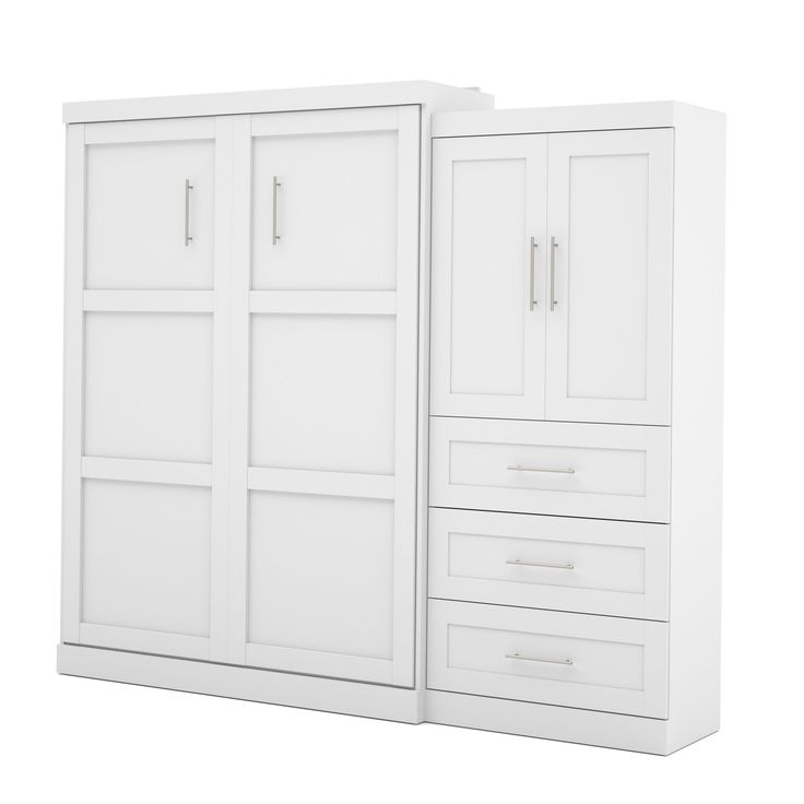 Pur by Bestar 101 Queen Wall bed kit with three drawers & two-door set (White)