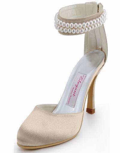 Hot elegant pärlstav handgjord söt liten rund pärla brud satin högklackade skor äktenskap AJ3065