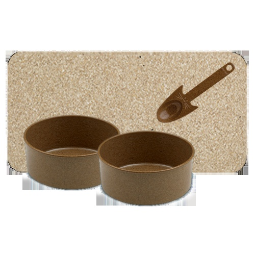 A bamboo dinner set for your Kitty. Healthy, renewable, and inexpensive  - everyone wins! $23.00