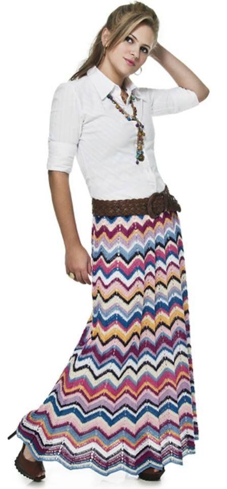 Katia Ribeiro Moda e Decoração Handmade: Saia longa em Crochê Colorida ( Com receita e gráfico )