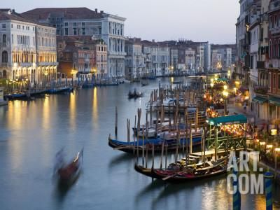 Outlook from Ponte Di Rialto Along Grand Canal at Dusk Photographic Print by David Tomlinson at Art.com