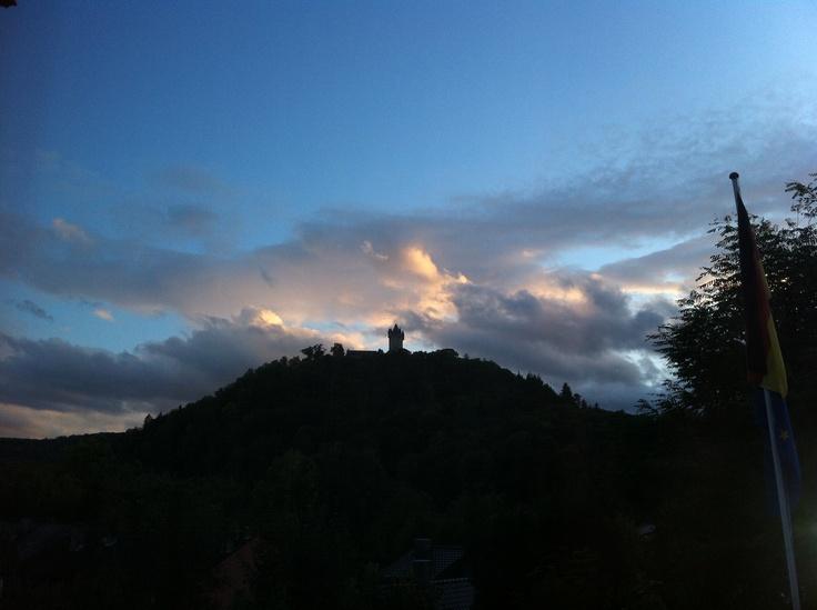 Nassau - Burg im Abendlicht.