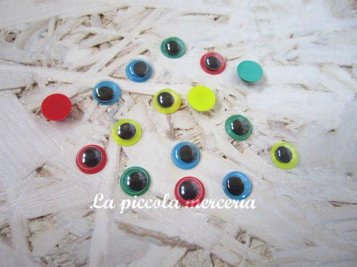 50 occhi occhietti mobili 8 mm colori misti pupazzi bambole
