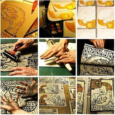 Craft Tutorials Galore : How to lino Print at Home