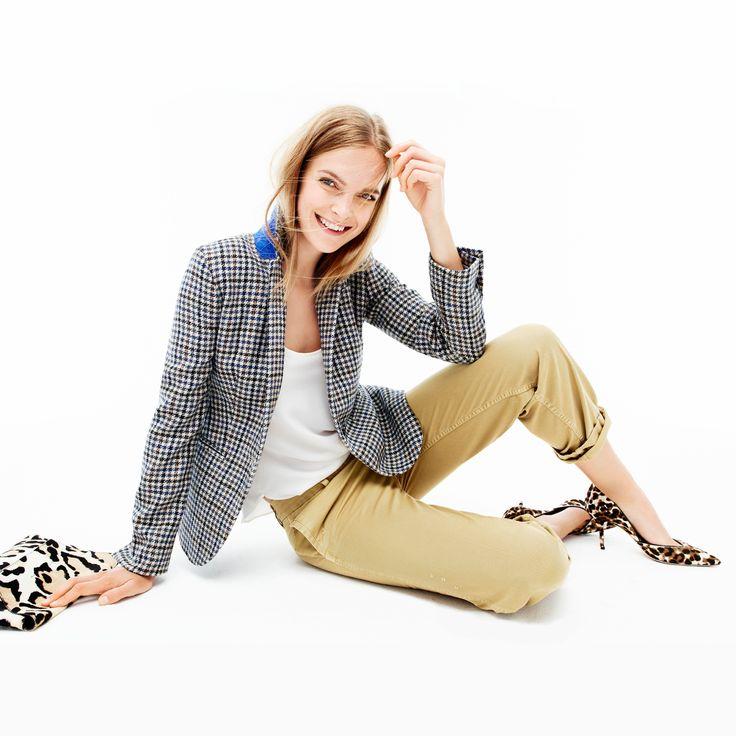 J.Crew Looks We Love: women's Campbell blazer in tweed, Collection luxe silk tank top, broken-in boyfriend chino, Collection calf hair envelope clutch and Collection Colette calf hair d'Orsay pumps.