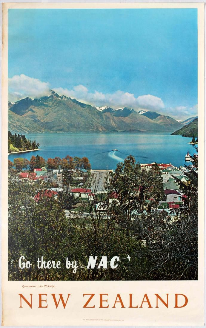 New Zealand - Queenstown, lake Wakatipu - Go there by  NAC - New Zealand National Airways Corporation - 1960's -