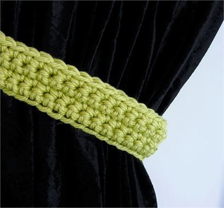 Bright Solid Lime Green CURTAIN TIEBACKS - One Pair, 21 long x 2.25 wide x 1/2 thick   One Pair of Hand-Crocheted Curtain Tiebacks for use with any kind of curtains or drapes, including shower curtains. I used a very thick 100% acrylic yarn called Hometown USA. The color is called Monterey Lime, a bright yellow-green/light lime color. This yarn is very soft, smooth, and has a slight sheen.   Different monitors/screens can display colors differently, so If an exact match is need...