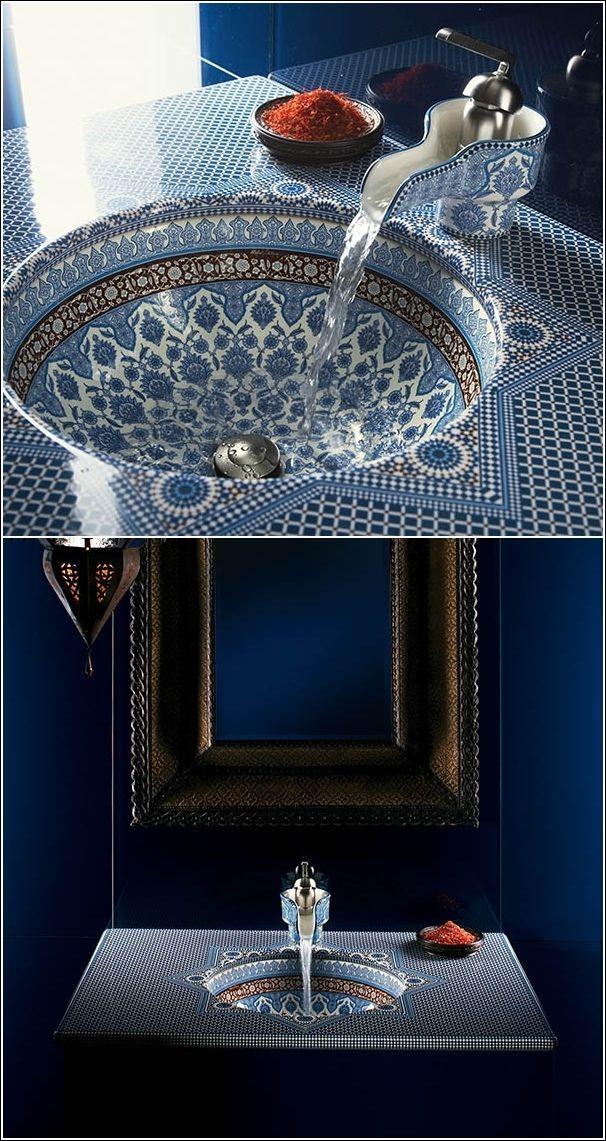 Blues in a mosaic style bathroom.  Want!