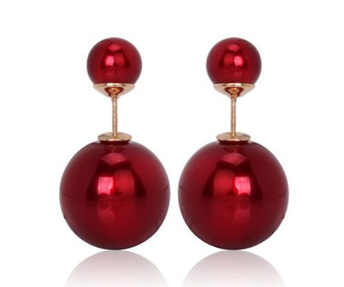 New Style Mise En Tribal Double Sided Glossy Red Stud Pearl Earrings Pinterest And Studs