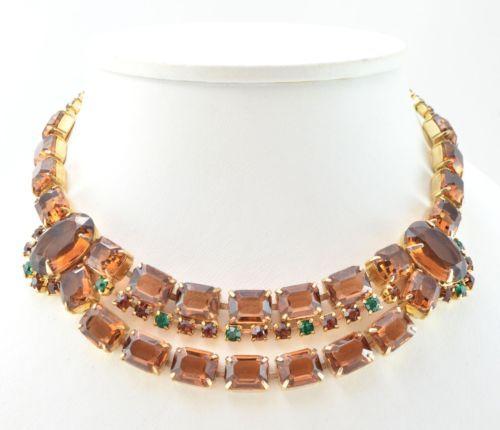 Vintage-Necklace-1960s-Dark-Cognac-Green-Goldtone-Retro-Bridal-Jewellery