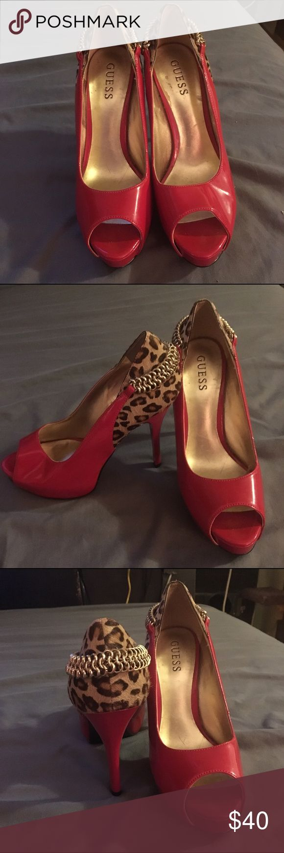 Size 7 Guess Heels BARELY WORN These red Guess shoes with cheetah print accenting and chain have barely been worn and are in great shape! Very comfortable! Just not a heels girl. Guess Shoes Heels