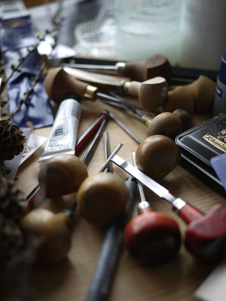 Some of Angie Lewin's wood engraving tools in the studio
