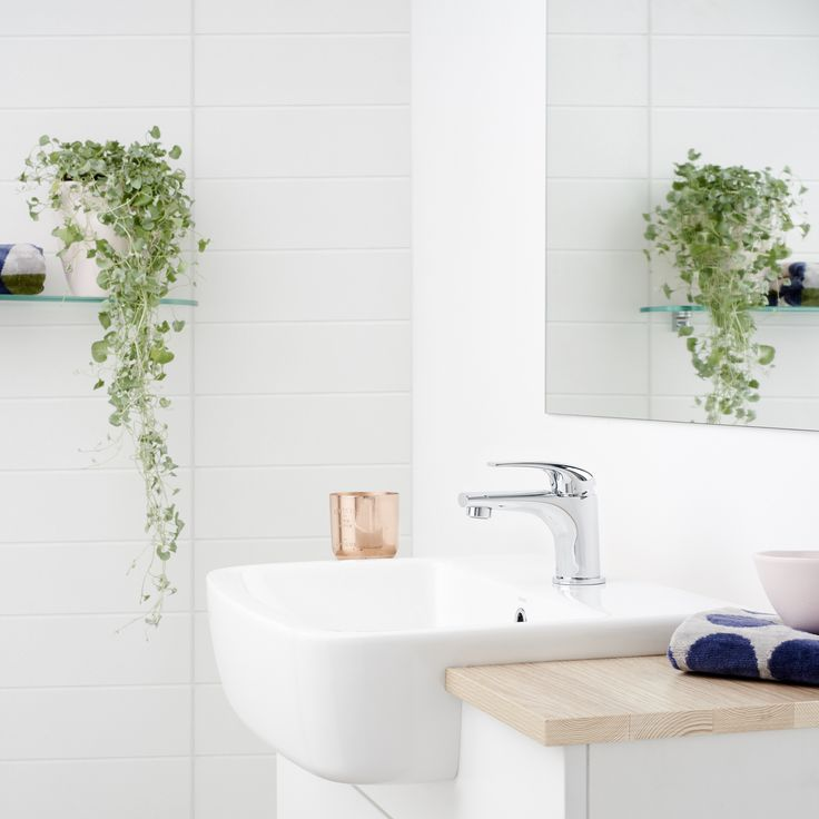 Dorf Hugo Basin Mixer paired with Caroma Semi Recessed Basin. #Dorf #Dorfstyle #design #Bathroom #inspiration #tap #timber #vanity #white #tiles #home #decor #styling #plants #ideas