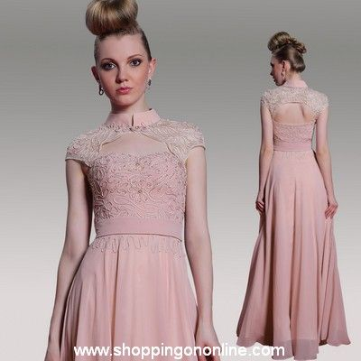 Pink Prom Dress - Short Sleeves Beaded $182.40 (was $228) Click here to see more details http://shoppingononline.com/prom-dresses/pink-prom-dress-short-sleeves-beaded.html #PinkPromDress #PromDressWithSleeves #PinkDress #ShortSleeves #PromDresses