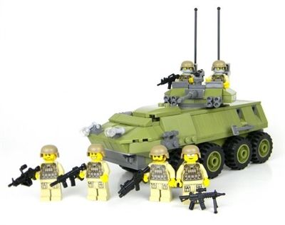 Deluxe green marine lav 25 military armored vehicle made with real lego bricks