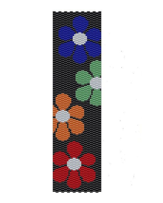 Floral Peyote Pattern -red, green blue and orange flowers peyote cuff pattern