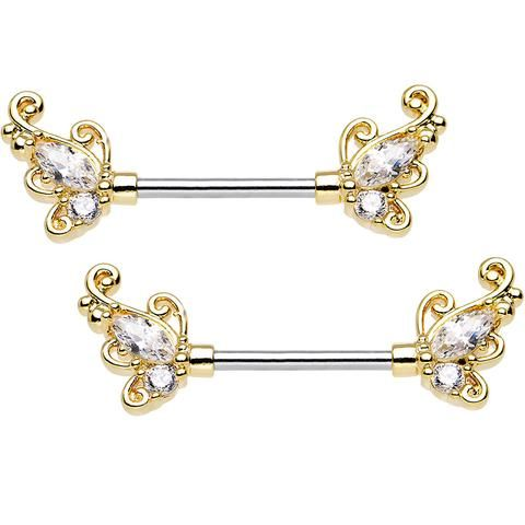 "9/16"" Clear CZ Stainless Steel Sunlit Art Deco Nipple Barbell Set"