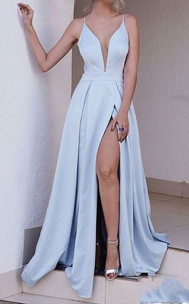 Charming Prom Dress,A-Line Prom Dress,Satin Prom Dress,V-Neck Prom Dress 170226