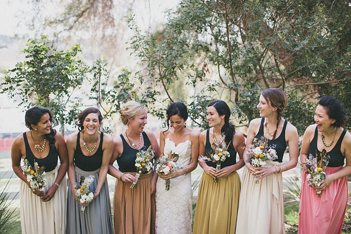 soft-colored skirts paired with black tank tops and your favorite necklace -- love these bridesmaids! // photography: studio castillero
