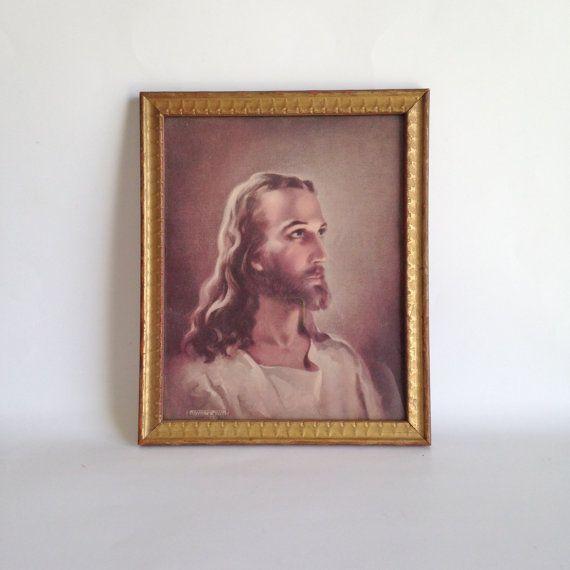 Sale Home Decor: Vintage Jesus Print. Kriebel & Bates. 1941. SALE Home