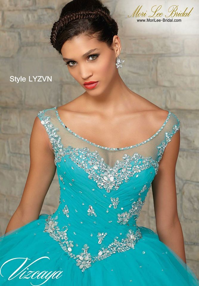 Style LYZVN  TULLE WITH BEADING. Matching Bolero. Available in Capri, Coral…