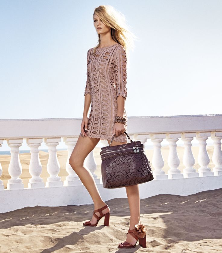 TWIN-SET Simona Barbieri: Openwork dress, bracelets, perforated Cécile bag and heel sandal with flow