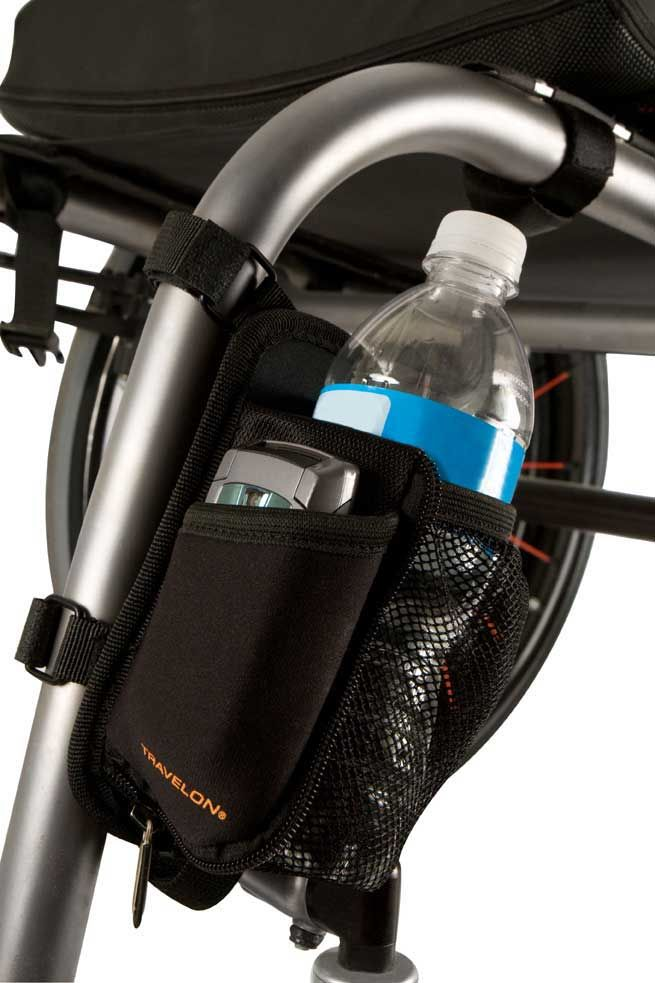 Travelon Water Bottle & Cell Phone Holder. I have used this for a couple of months. Love it! Amazon had the lowest price in 2014.
