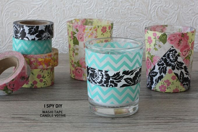 quick diy washi tape candle votive