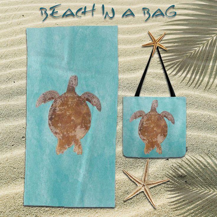Turtle tote,Marine life tote,Beach towel,oversized beach towel,watercolor,sea,ocean,bundle,beach bag,beach tote bag,women,gift,Womens Totes by OkopipiDesign on Etsy