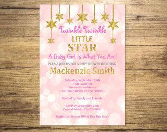 Twinkle Twinkle Little Star Baby Shower Invitation, Pink And Gold (Digital) Glitter Girl Baby Shower Invitation, Digital File