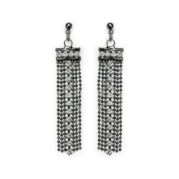 Tanned Stainless Rhinestone Drop Festive Earrings
