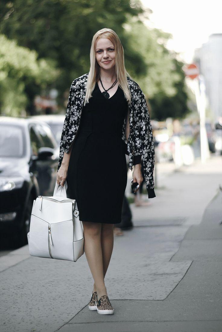 city chic, floral bomber, little black dress, leopard skaters, white backpack, mirrored aviators
