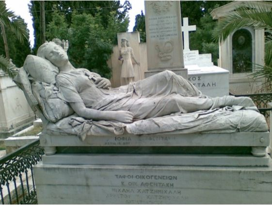 Κοιμωμένη - Μαρμάρινο γλυπτό στο κοιμητήριο