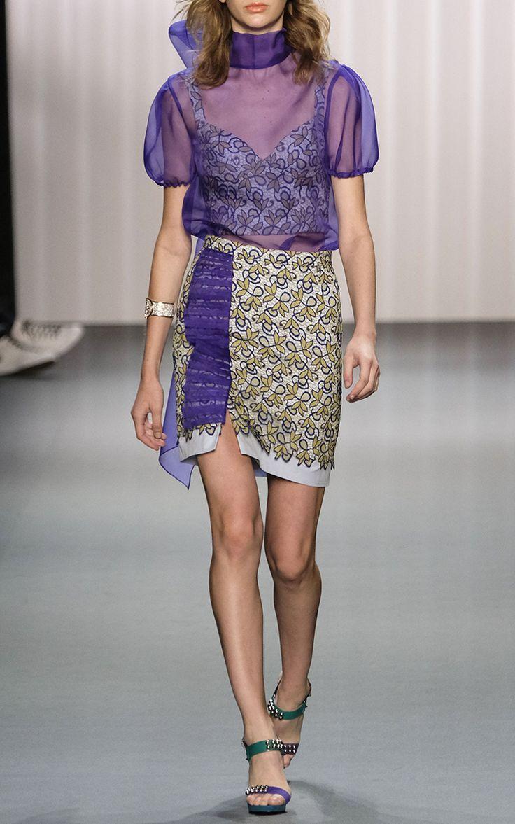Sheer Short Sleeve Bow Top by BIBHU MOHAPATRA for Preorder on Moda Operandi